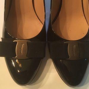 Ferragamo Patent Leather Nero Heels